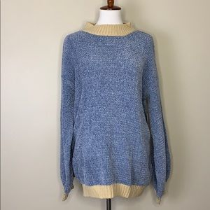 DOE & RAE Chunky Blue Cream Knitted Soft Sweater